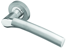 Frelan Arkus Door Handle on Rose Polished and Satin Chrome