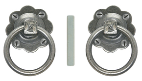 From The Anvil Ring Door Handle Set Pewter