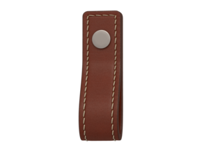 Turnstyle Button Stitched Strap Loop Handle Chestnut Leather Satin Nickel