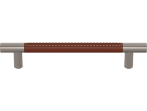 Turnstyle Recess 16mm Barrel Stitch Out Handle Chestnut Leather Satin Nickel 224mm