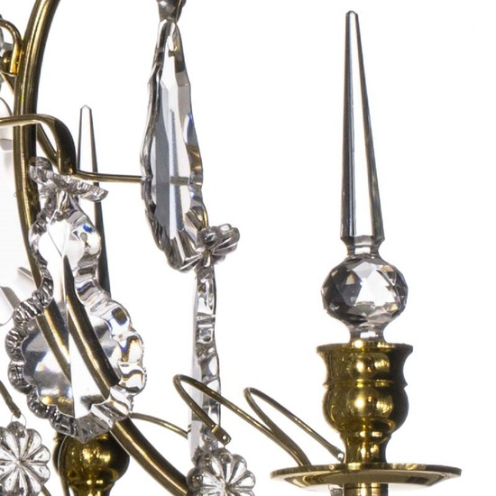 Brass bathroom chandelier with crystal pendeloques and spears gustavian treniq 1 1519745267909