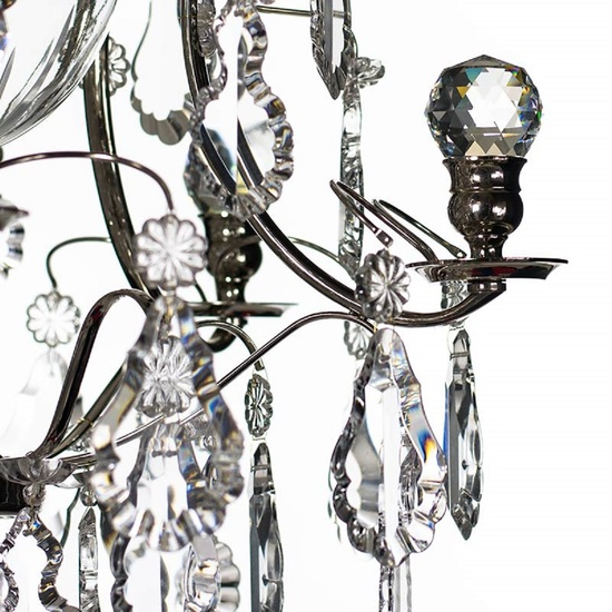 Chrome bathroom chanddelier with crystal pendeloques and orbs  gustavian treniq 1 1519745628260