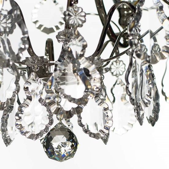 Chrome bathroom chanddelier with crystal pendeloques and orbs  gustavian treniq 1 1519745630416