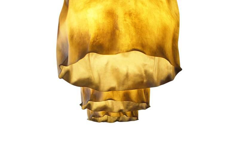 Suspension lamp fiberglass brass aged ruby 3