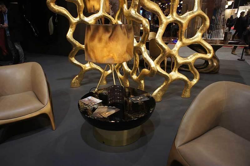 Table lamp fiberglass brass aged ruby 4