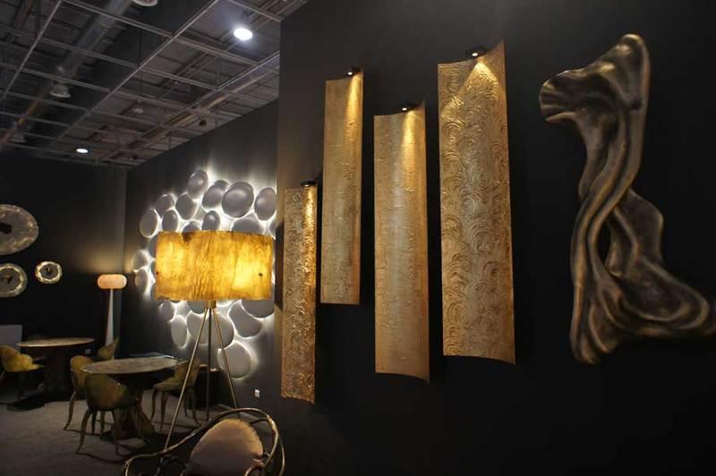 Wall panel lamp fiberglass gold leaf textured tiles 5