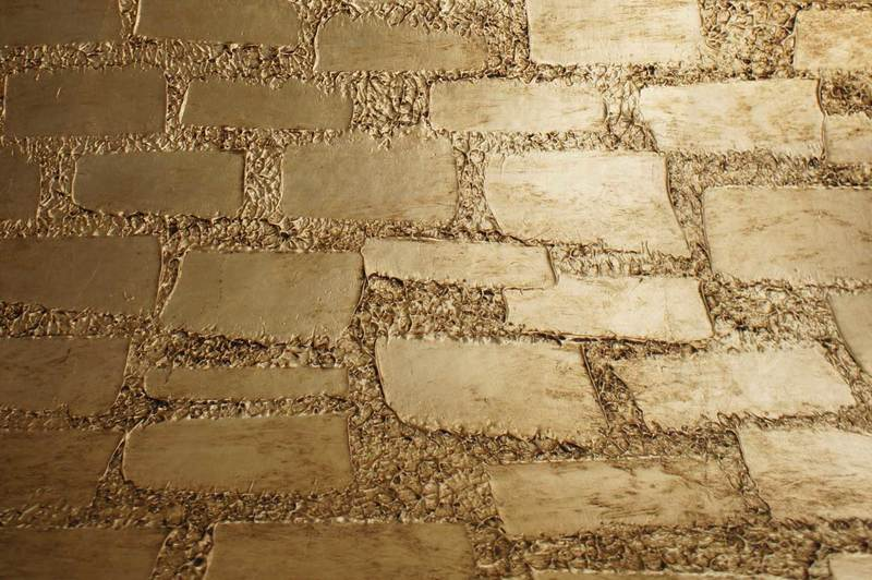 Wall panel lamp fiberglass gold leaf textured tiles 2