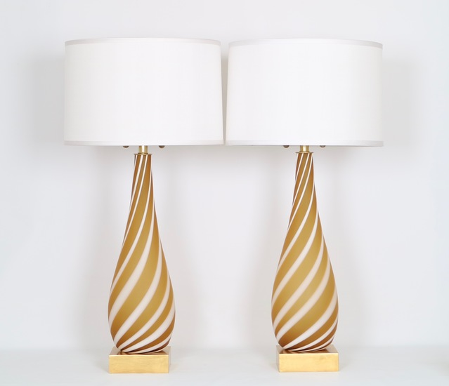 Pair of murano glass lamps in butterscotch and white sergio jaeger treniq 1 1520555193915