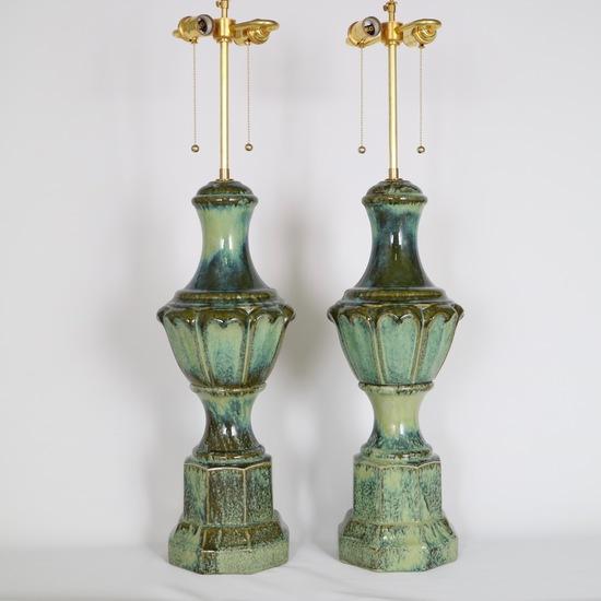 Pair of mid century majolica style porcelain baluster lamps sergio jaeger treniq 1 1520556607876