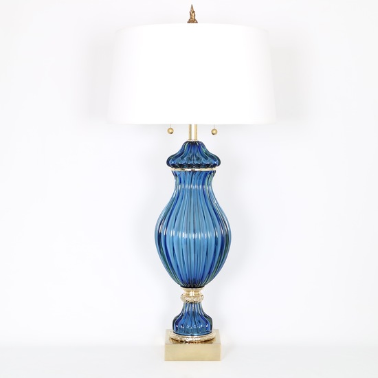 Restored seguso for marbro blue murano glass ribbed lamp sergio jaeger treniq 1 1520557705181