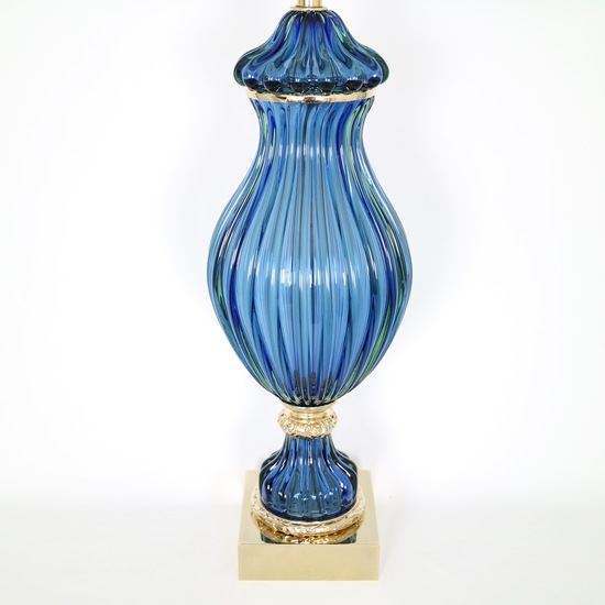 Restored seguso for marbro blue murano glass ribbed lamp sergio jaeger treniq 1 1520557705185