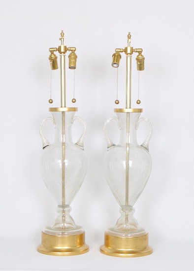 Murano glass urn lamps by seguso for marbro  pair sergio jaeger treniq 1 1520558417761