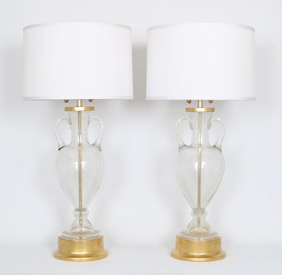 Murano glass urn lamps by seguso for marbro  pair sergio jaeger treniq 1 1520558417758