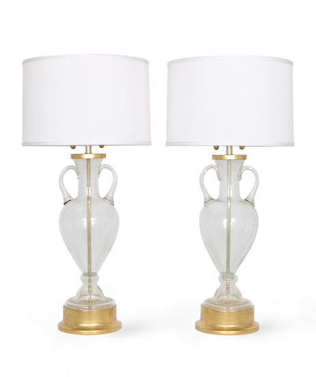 Murano glass urn lamps by seguso for marbro  pair sergio jaeger treniq 1 1520558431495