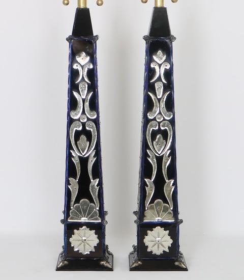 Pair of monumental venetian mirror obelisk lamps sergio jaeger treniq 1 1520561810603