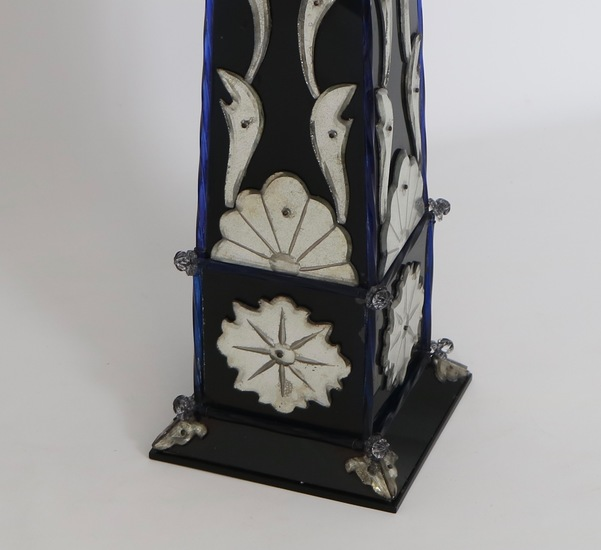 Pair of monumental venetian mirror obelisk lamps sergio jaeger treniq 1 1520561810601