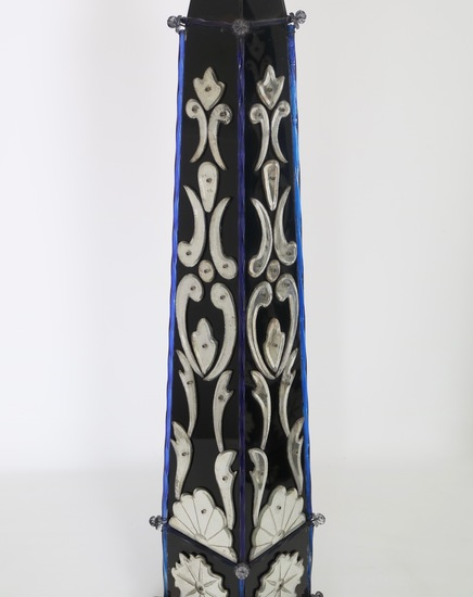 Pair of monumental venetian mirror obelisk lamps sergio jaeger treniq 1 1520561810600