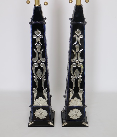 Pair of monumental venetian mirror obelisk lamps sergio jaeger treniq 1 1520561816903
