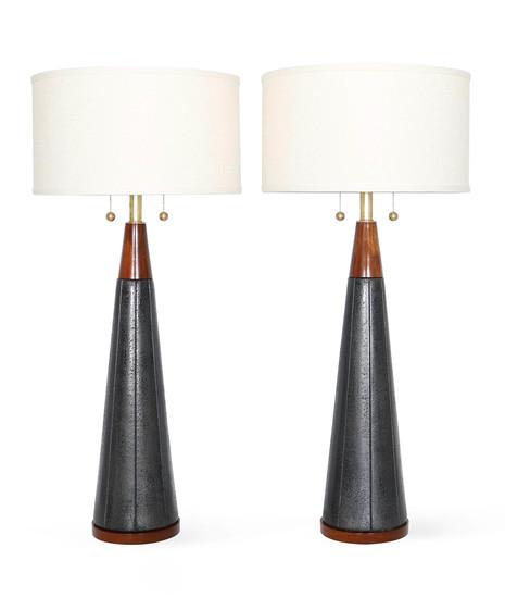Pair of mid century modern black ceramic and walnut lamps by quartite creat sergio jaeger treniq 1 1520562127944