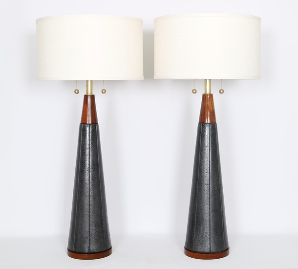 Pair of mid century modern black ceramic and walnut lamps by quartite creat sergio jaeger treniq 1 1520562127945