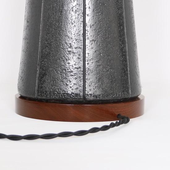 Pair of mid century modern black ceramic and walnut lamps by quartite creat sergio jaeger treniq 1 1520562127947