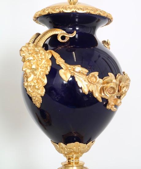 Neoclassical sevres style cobalt blue porcelain lamps gilt bronze accent sergio jaeger treniq 1 1520652622557