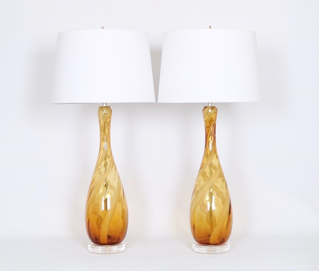 Seguso murano glass lamps in amber and white sergio jaeger treniq 1 1520917098535