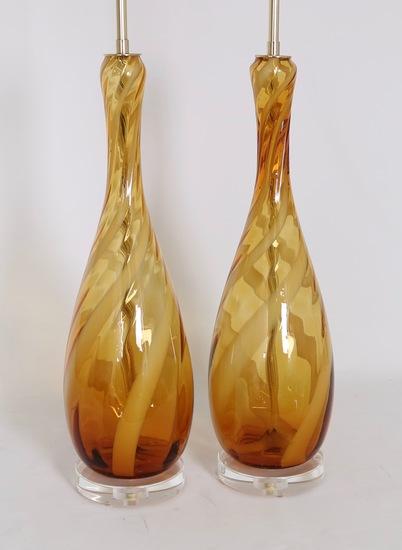 Seguso murano glass lamps in amber and white sergio jaeger treniq 1 1520917098541