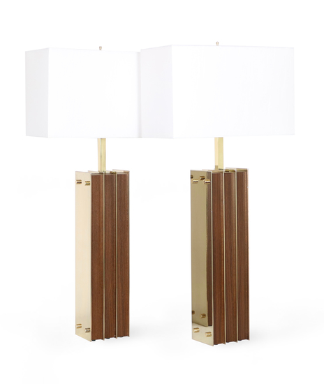 Restored mid century modern pair of lamps in brass and wood sergio jaeger treniq 1 1521006146305