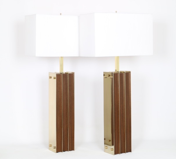 Restored mid century modern pair of lamps in brass and wood sergio jaeger treniq 1 1521006150204