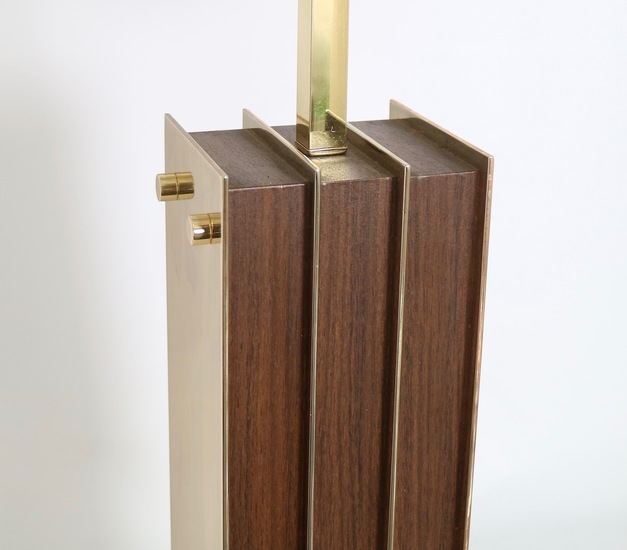 Restored mid century modern pair of lamps in brass and wood sergio jaeger treniq 1 1521006311516
