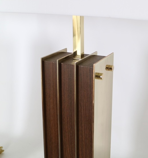 Restored mid century modern pair of lamps in brass and wood sergio jaeger treniq 1 1521006316369