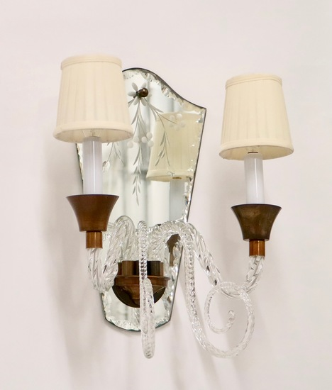 Hollywood regency murano glass sconces with etched mirrors and brass accent sergio jaeger treniq 1 1521050485203