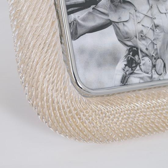 Venini %e2%80%98torciglione%e2%80%99 murano glass gold flakes photo frame with nickel accen sergio jaeger treniq 1 1521136820692