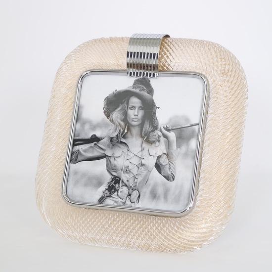 Venini %e2%80%98torciglione%e2%80%99 murano glass gold flakes photo frame with nickel accen sergio jaeger treniq 1 1521136820686