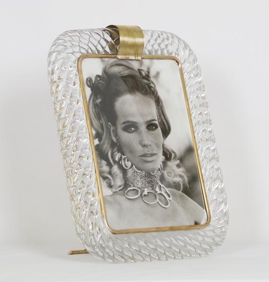 Venini torciglioni murano glass frame in clear glass with brass band on top sergio jaeger treniq 1 1521137676033