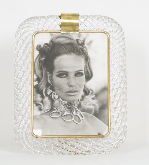 Venini torciglioni murano glass frame in clear glass with brass band on top sergio jaeger treniq 1 1521137676030