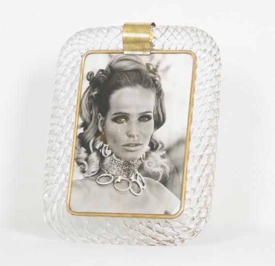 Venini torciglioni murano glass frame in clear glass with brass band on top sergio jaeger treniq 1 1521137676029