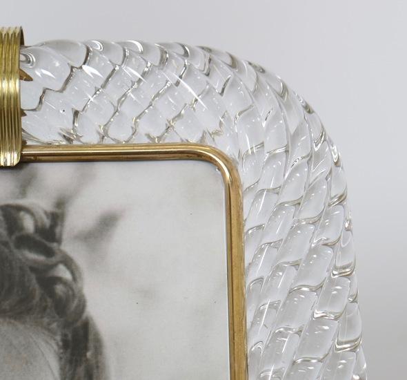 Venini torciglioni murano glass frame in clear glass with brass band on top sergio jaeger treniq 1 1521137676034