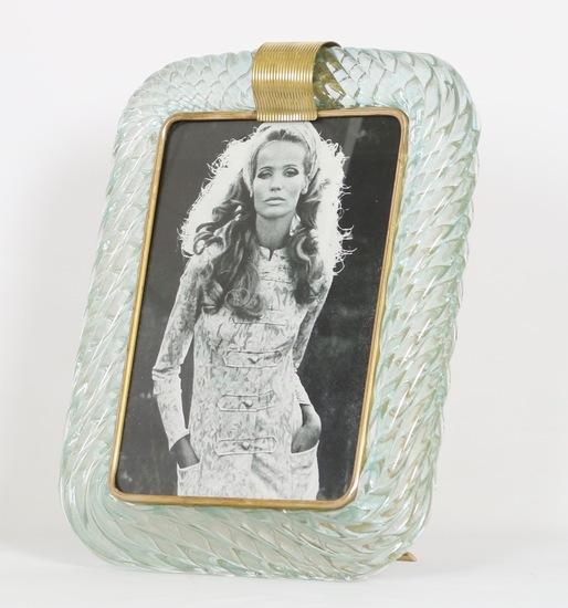Venini torciglione murano glass frame in aqua with gold inclusions sergio jaeger treniq 1 1521137963610