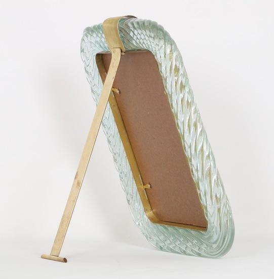 Venini torciglione murano glass frame in aqua with gold inclusions sergio jaeger treniq 1 1521137963612