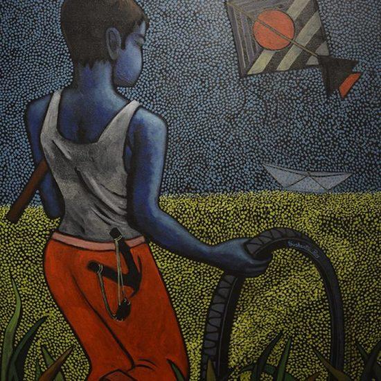 36x30 inches acrylic on canvas  childhood sushanta roy %c2%a31250
