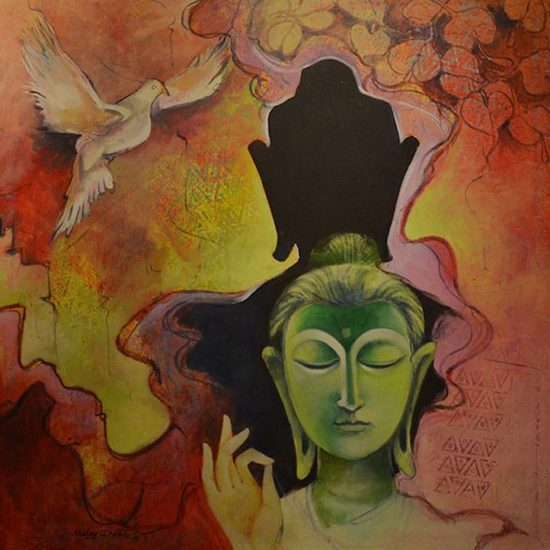 36x36 inches   acrylic on canvas  peace ii malay dutta   %c2%a3650