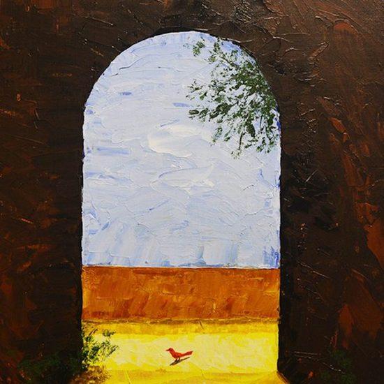 600x600 acrylic on canvas   red bird  swapan denra %c2%a3750