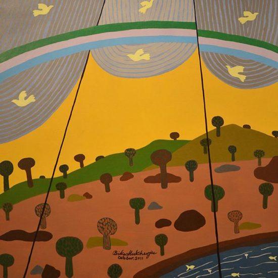 600x600 acrylic on board   rainbow and yellow sky   bikas mukherjee %c2%a32 000