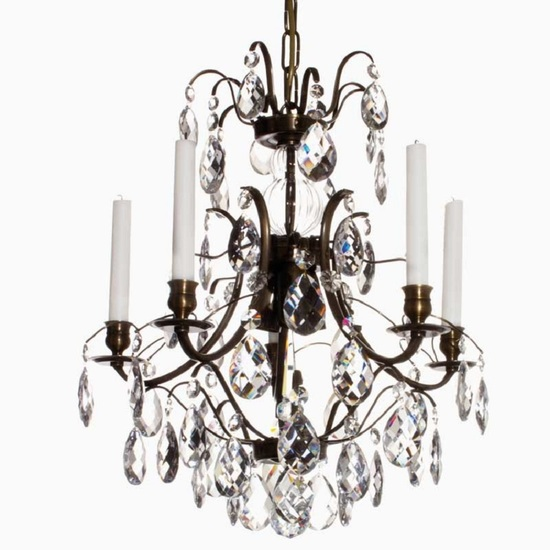 5 arm crystal chandelier in dark coloured brass gustavian style treniq 1 1522487323718