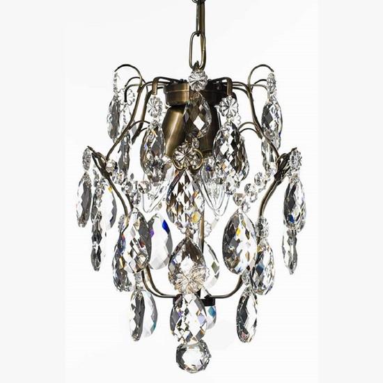 Ampel chandelier with crystals in dark brass gustavian style treniq 1 1522487739514