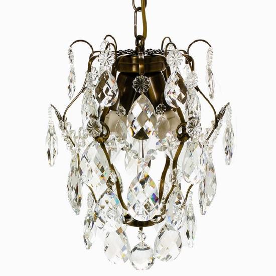 Ampel chandelier with crystals in dark brass gustavian style treniq 1 1522487739524