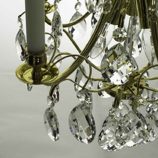 5 arm crystal chandelier in polished coloured brass gustavian style treniq 1 1522488007552
