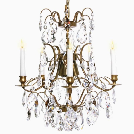 5 arm crystal chandelier in amber coloured brass gustavian style treniq 1 1522488173376